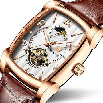 TEVISE T802B Business Style Men Wrist Watch Moonphase Date Display Automatic Mechanical Watch