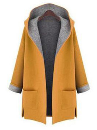 L-5XL Women Solid Color Autumn Winter Hooded Coats with Pockets