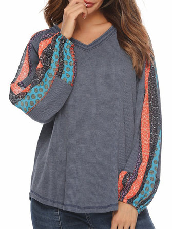 Print Patchwork Lantern Sleeve Loose Casual Knit Sweaters for Women