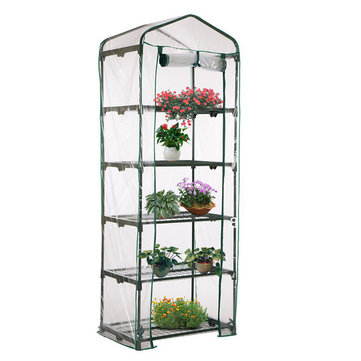 69 x 49 x 187cm Apex Roof 5-Tiers Garden Greenhouse Hot Plant House Shelf Shed Clear PVC Cover