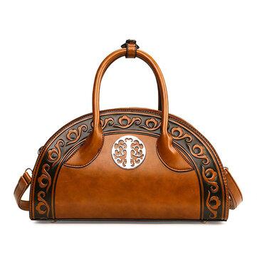 Women Leather National Retro Handbag Folk Elegant Crossbody Bag