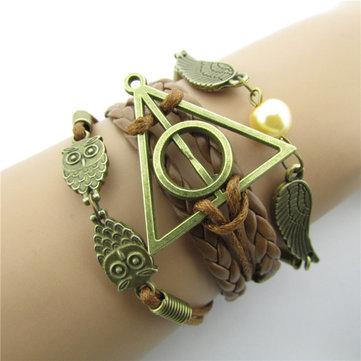 Vintage Unisex Multilayer Bracelet Hollow Triangle Geometric Owl Wings Wave Bracelet Ethnic Jewelry