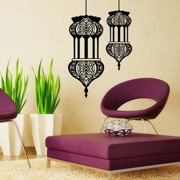 Halloween Recados lanterna islâmico adesivos muslim padrão arte adesivos de parede casa mural decoração sofa parede