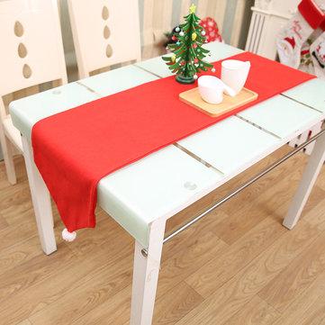 34X176CM Mesa de Natal Torneira de mesa Toalha de mesa Bandeira de Natal Casa Decoração de festa Corredores de mesa vermelha