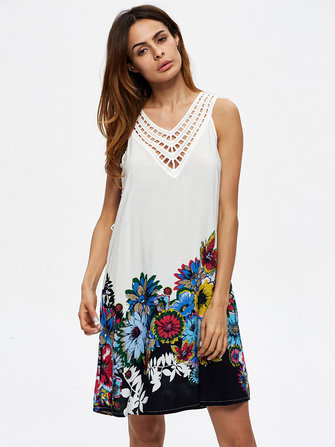 Sexy Women V-Neck Hollow Out Flowers Printed Sleeveless Mini Dresses