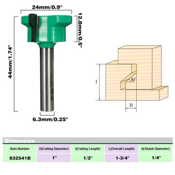 1/4 Inch Shank Drawer Front Router Bit สำหรับงานไม้