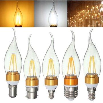 E27 E14 E12 B22 B15 4W Glod Pull Tail Incandescent Candle Light Bulb Non-Dimmable 110V