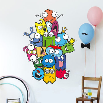 Colorful Cartoon Wall Sticker Color Pencil Monster Wall Decals For Kids Bedroom
