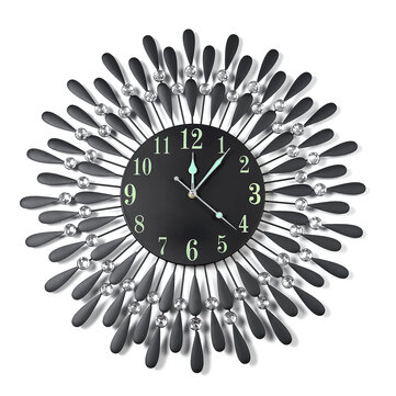 Large Modern 3D Crystal Wall Clock Luminous Retro Iron Art Round Dial Black Drops Home Office Wall Decoration