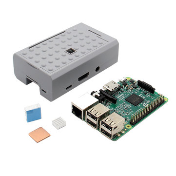 3 In 1 Raspberry Pi 3 Model B Board + Grey ABS Case Shell Housing + Aluminum Copper Heat Sink Kit