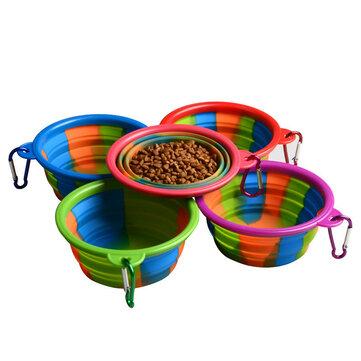 Plegable Silicona Pet Bowl Portable Perro Alimentación Alimentación de agua Alimentación Fuentes al aire libre Bowl