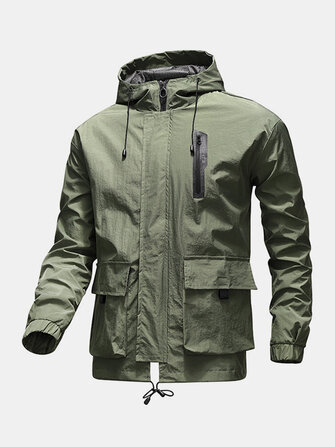 Buy Mens Letter Back Print Zip Front Loose Drawstring Hooded Waterproof Outdoors Jackets with 8 on Gipsybee.com