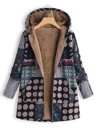 Women Polka Dot Print Fluffy Fleece Thick Floral Print Vintage Jacket Coats