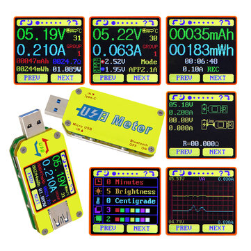 RIDEN® UM34/UM34C For APP USB 3.0 Type-C DC Voltmeter Ammeter Voltage Current Meter Battery Charge Measure Cable Resistance Tester