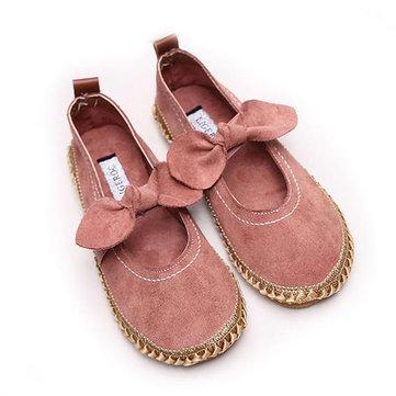 Donne Bowknot Round Toe Slip-On scamosciato scarpe casuali piane esterne