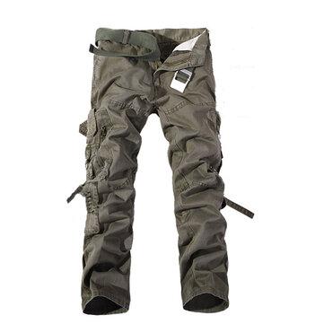 Mens कार्गो पैंट मल्टी पॉकेट्स कैज़ुअल कॉटन पैंट्स काम चौग़ा