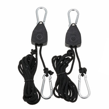 2pcs 1/8 Inch Rope Ratchet Lifters Reflector Grow Light Hangers Zinc Alloy Hook Plastic Pulley 2m