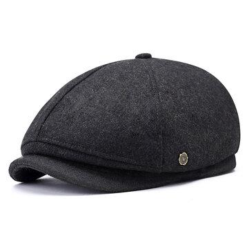 Mũ len mùa đông đậm chất len pha trộn Mũ len ngoài trời Đồng bằng Octagon Mũ lưỡi trai dành cho nam giới