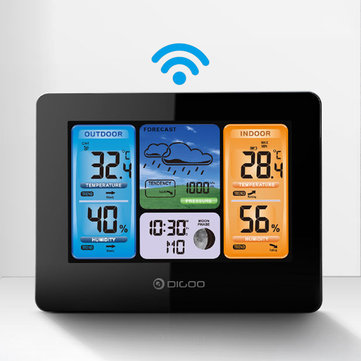 DIGOO DG-EX001 APP Remote Setting WIFI Smart Weather Station Wireless Color Screen Temperature Humidity Outdoor/ Indoor Sensor Weather Forecast Moon Phase Barometric Pressure