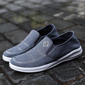आरामदायक लोफर्स जूते पर पुरुष कम शीर्ष कैनवास सांस लेने योग्य फ्लैट पर्ची