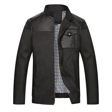 प्लस साइज मेन्स कंधे पु चमड़ा सिलाई स्टैंड कॉलर आरामदायक स्लिम फिट बिजनेस जैकेट