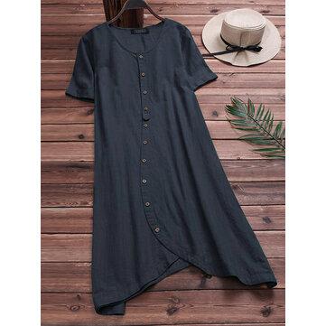 S-5XL Casual Kadın Pamuk Gevşek Kısa Kollu Düzensiz Hem Gömlek Elbise