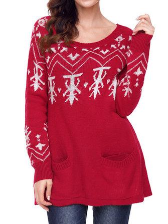 महिला क्रिसमस लंबी आस्तीन बर्फ मुद्रित शरद ऋतु शीतकालीन आरामदायक स्वेटर