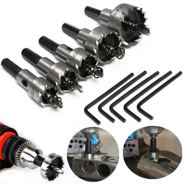5pcs 16-30mm Hole Saw Cutter Drill Bit Set HSS Hole Saw Drill Sheet Metal Reamer with Wrench