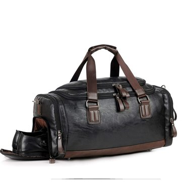 Men Gym Bag Leather Travel Weekender Overnight Duffel Sports Luggage Tote Duffle For