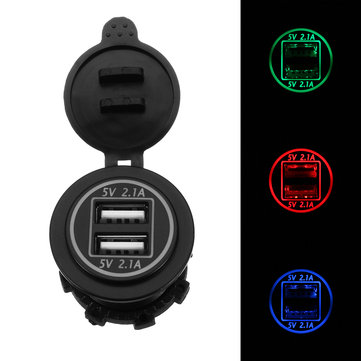 12/24V Dual USB Charger Socket Adapter 5V 4.2A Power Outlet For Motorcycle Car Truck ATV Boat