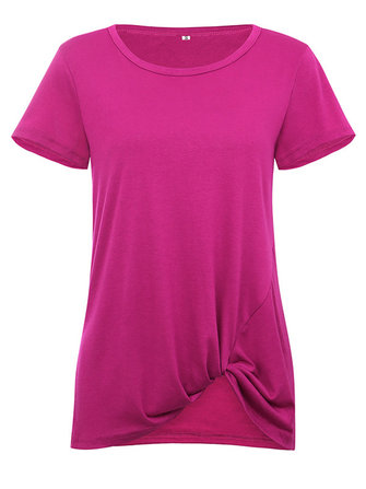 Women Solid Color Knotted Round Neck Short Sleeve Blouse