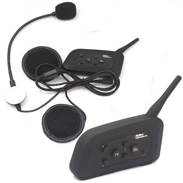 2pc 1000M 4 People Group Talking Helmet Intercom US Plug With bluetooth No Need Change Channels