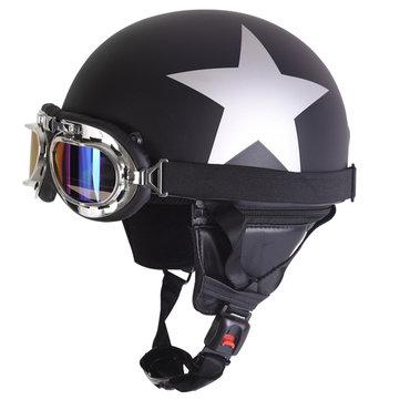 सन विस्सर यूवी गोगल्स के साथ रेट्रो विंटेज मोटरसाइकिल हेलमेट सुरक्षा हाफ हेलमेट