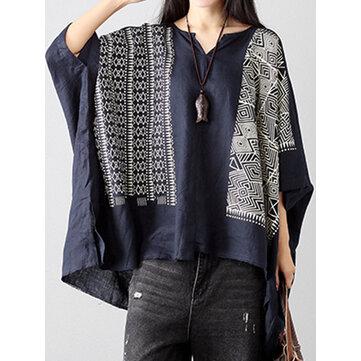 Folk Style Retro Mujer estampado de algodón de lino bat manga con cuello en V flojo Tops