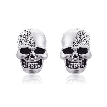 Punk Skull Head Ear Stud Rhinestone Earrings Wholesale for Men Women