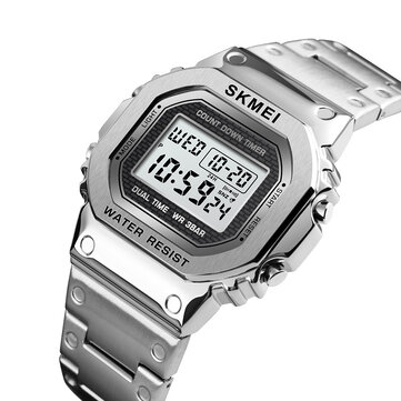 SKMEI 1456 LED Chronograph Countdown Alloy Case Rustfrit Stål Vandtæt digital Holde øje Men Holde øje