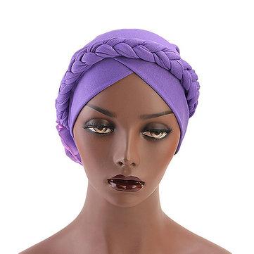 Phụ nữ Vintage Phong cách dân tộc Braid Mũ Turban thoáng khí Bông Cap
