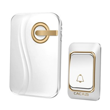 CACAZI Wireless Doorbell Battery-operated Waterproof with 4 Levels Volume Door Chime 200 Meters