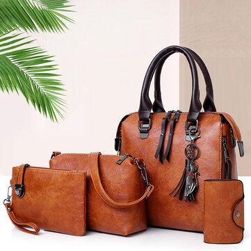 4 PCS Women Faux Leather Handbag Vintage Elegant Multi-function Crossbody Bag