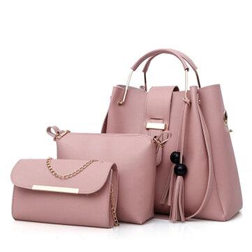 Women Faux Leather Three-piece Set Tassel Handbag Crossbody Bag Clutch Bag