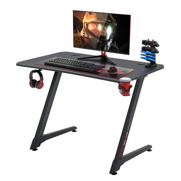 Douxlife® DL GD02 Gaming Desk Ergonomic Design 43.3″ Carbon Fiber Textured Surface Z Shaped Gamer Workstation with Complete Gaming Accessories for Home Office Coupon Code and price! - $130