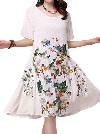 Floral Women Dress Vintage Printed Patchwork Swing Dresses