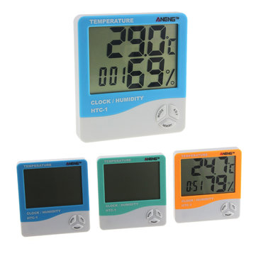 ANENG HTC-1 Indoor Room LCD Electronic Temperature Humidity Meter Digital Thermometer Hygrometer Weather Alarm Clock