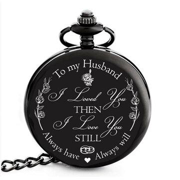 Vintage Retro Arabic Numerals Time Display Men Quartz Pocket Watch with Necklace Chain