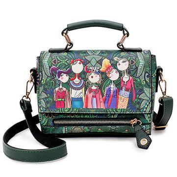 Women Bohemian Forest Series Print Crossbody Bags Large Capacity Handbag