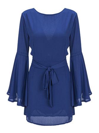 आरामदायक महिला लांग ट्रम्पेट आस्तीन रफल्स बैकलेस शिफॉन मिनी ड्रेस