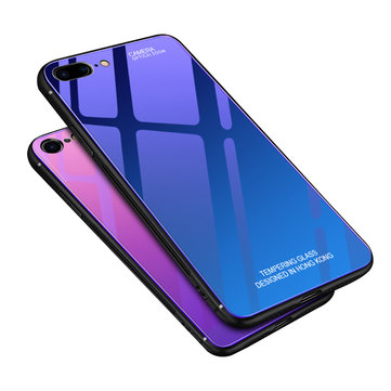 Bakeey Gradient Color Aurora Blue Ray Tempered Glass Soft Edge Protective Case for iPhone 7/8 Plus
