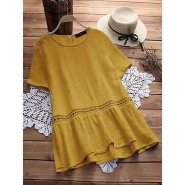 Plus Size Women Short Sleeves Patchwork Cotton Blouse