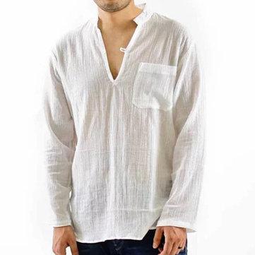 Mens Vintage Aggregat Tunn V-hals Solid Färg Lösa Casual Skjortor Med Bröstficka