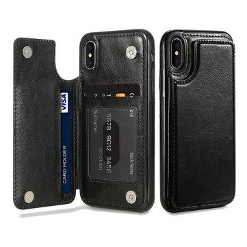 KISSCASE Retro PU Leather Card Slots Bracket Case for iPhone X 8/8 Plus/7/7 Plus/6/6s/6 Plus/6s Plus